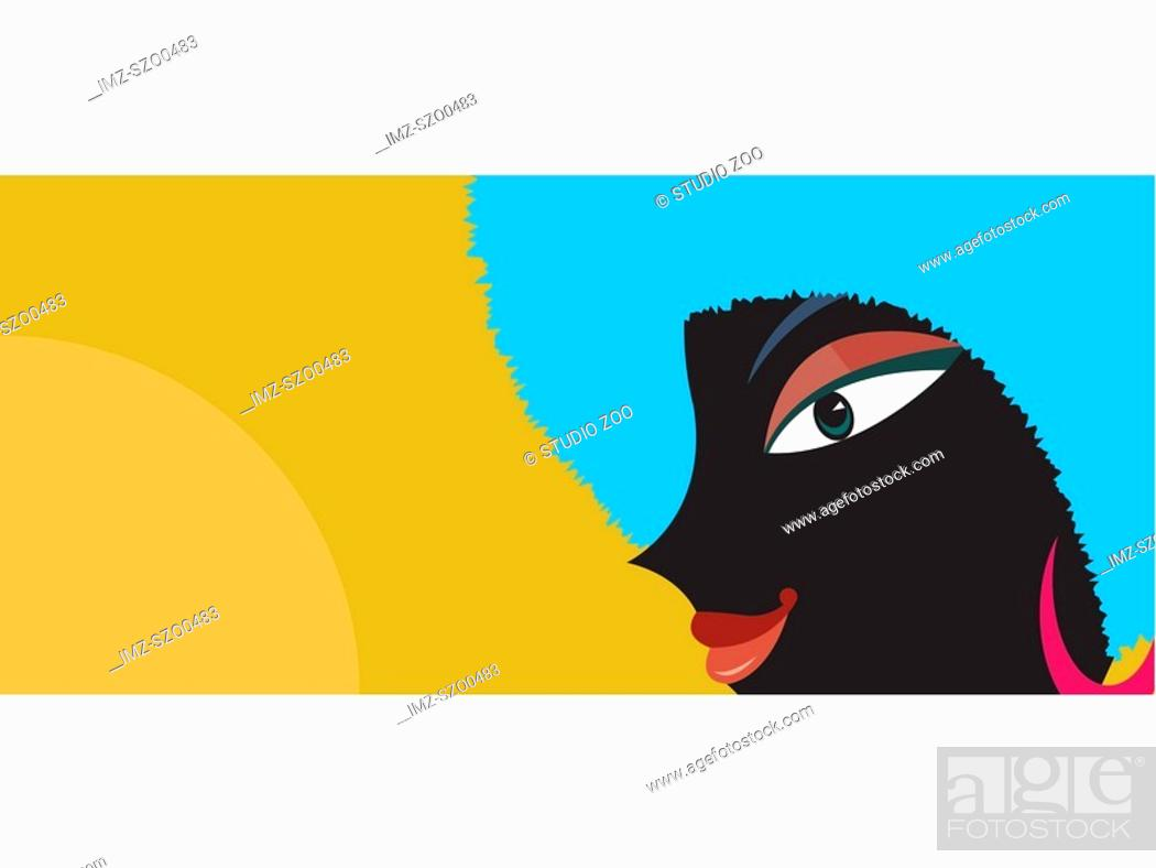 Stock Photo: A woman with dark skin and blue afro hair style.