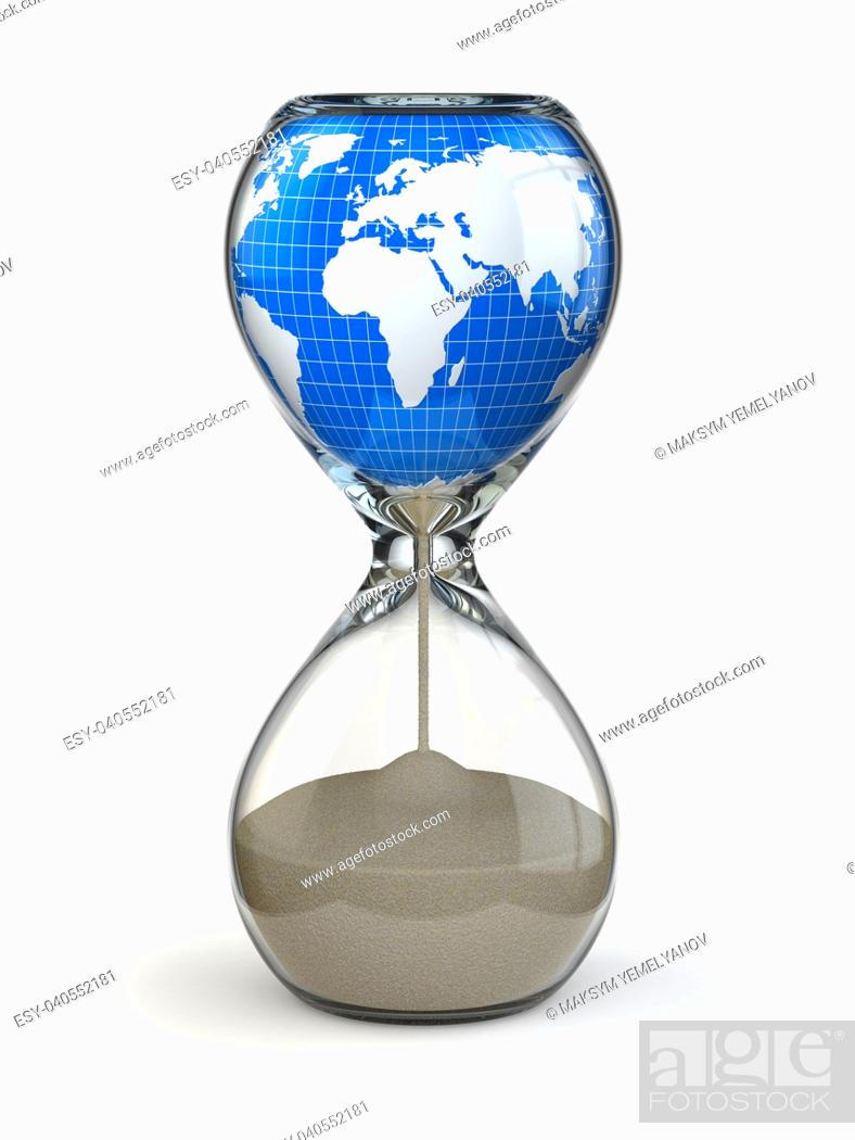 Stock Photo: Earth in hourglass. Conceptual image destruction of the world. 3d.