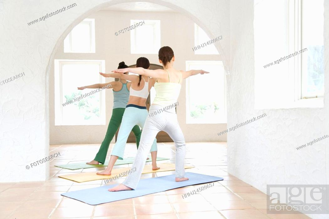 Stock Photo: Young women doing yoga exercise, stretching, rear view.