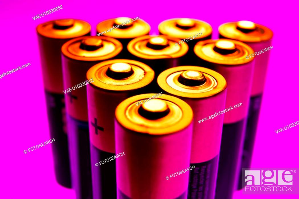 Stock Photo: Close up on AA size batteries.