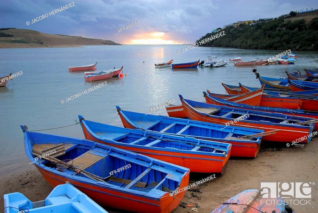 Stock Photo: Moulay Bousselham pier. Merdja Zerga nature reserve. Morocco.
