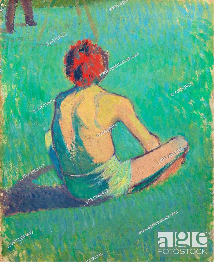 Stock Photo: Emile Bernard - Boy sitting in the grass - Van Gogh Museum, Amsterdam.