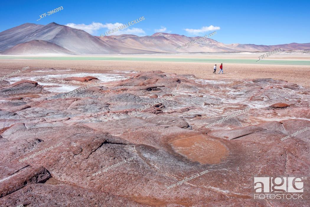 Stock Photo: Piedras Rojas (Red Stones). In Salar (salt flats) or laguna (lagoon) de Talar, also called de Aguas Calientes, Altiplano, Puna, Atacama desert.