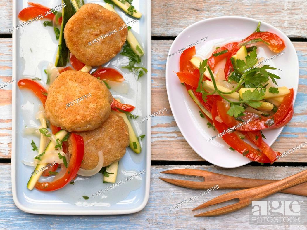 Stock Photo: Semolina with pepper and zucchini.