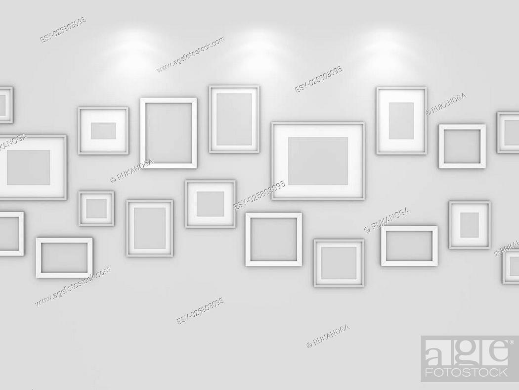 Stock Photo: Modern interior composition of blank pictures on wall.