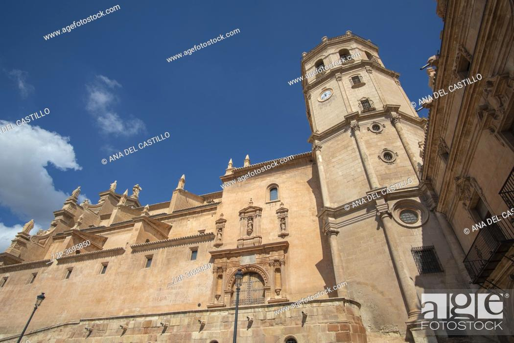 Stock Photo: Lorca Murcia Spain on September 6, 2020 historic old city in summer St Patricio collegiate church at Spain square.