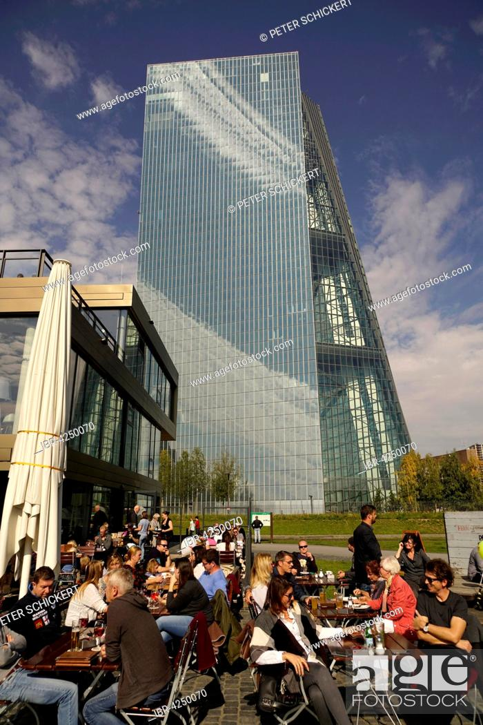 Stock Photo: Cafe in front of the European Central Bank, Frankfurt am Main, Hesse, Germany.