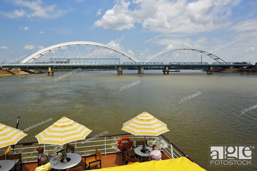 Stock Photo: Novi Sad, Serbia, Novi Sad on the Danube, Province Vojvodina, District South Backa, river cruise on the Danube, excursion ship.