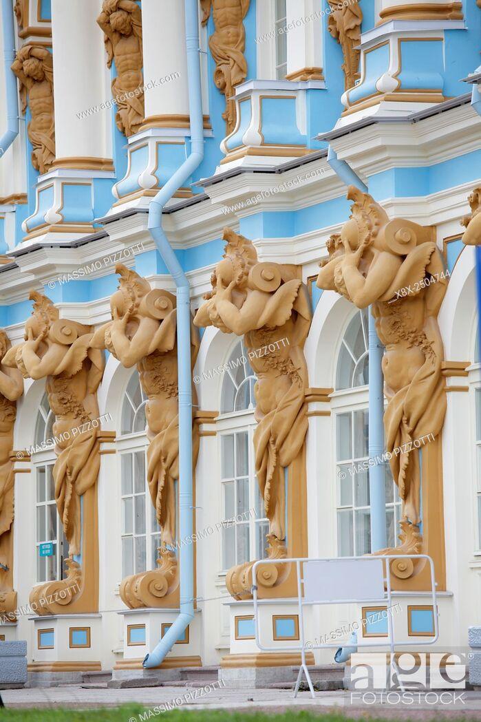 Stock Photo: Detail of Catherine Palace, located in Tsarskoye Selo (Pushkin), Saint Petersburg, Russia.