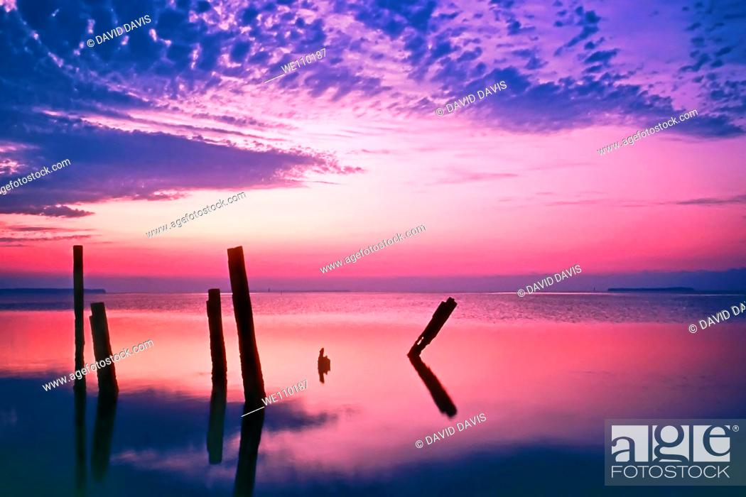 Stock Photo: Sunrise over Florida Bay, Everglades National Park, Florida.