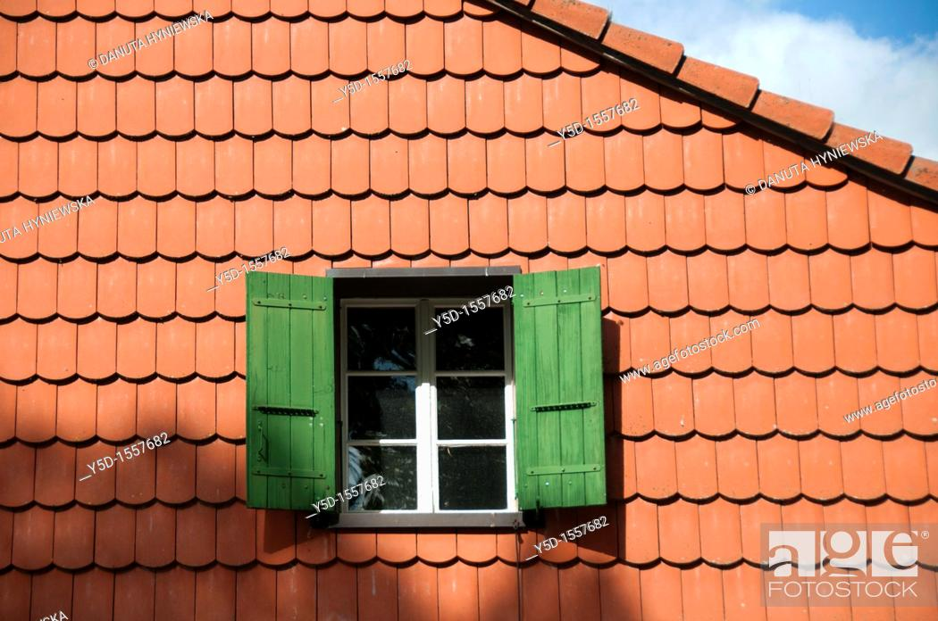 New Well Done Ceramic Tile Roof Window Sky Switzerland Stock