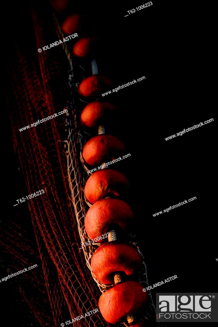 Stock Photo: Details of the buoys of a network of professional fishing  Fishing port of Vilanova i la Geltrú  Catalunya  Spain.