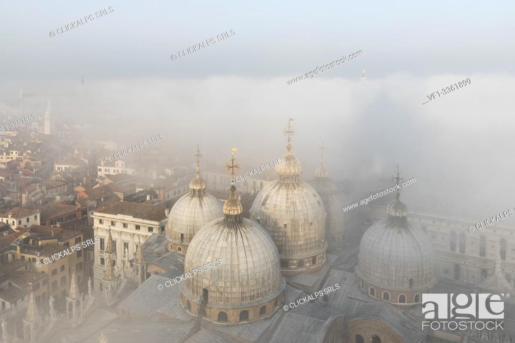 Stock Photo: Fog bank over Cathedral Basilica of Saint Mark, Venice, Veneto, Italy, Europe.