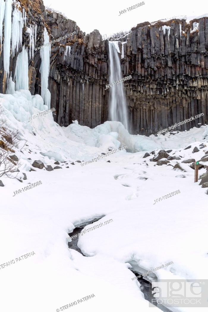 Stock Photo: Svartifoss waterfall, Skaftafell National Park, Iceland.