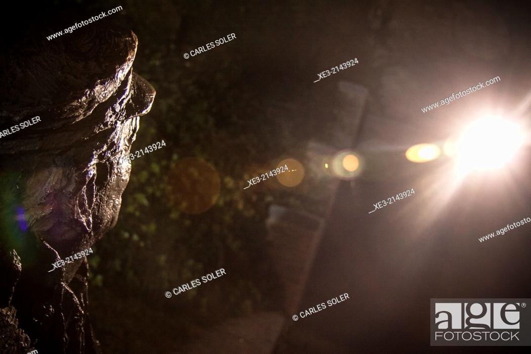Stock Photo: Statue of poet José Ledesma, looking at the light. Salamanca, Castile-Leon, Spain.