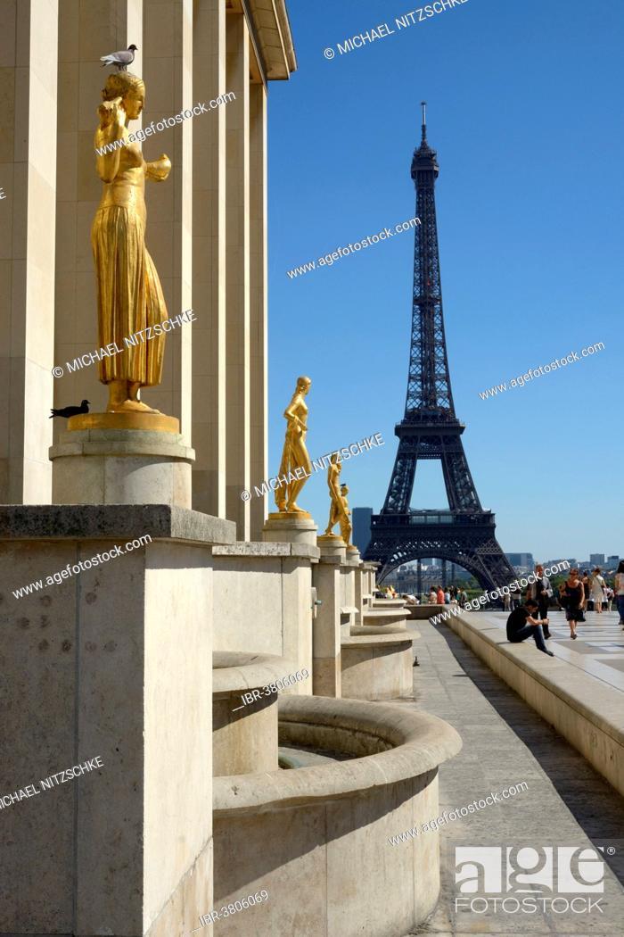 Stock Photo: The Eiffel Tower from the Place du Trocadéro, Paris, Île-de-France, France.