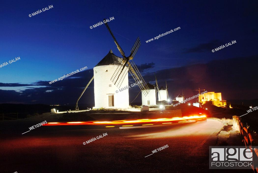 Stock Photo: Windmills, night view. Consuegra, Toledo province, Castilla La Mancha, Spain.