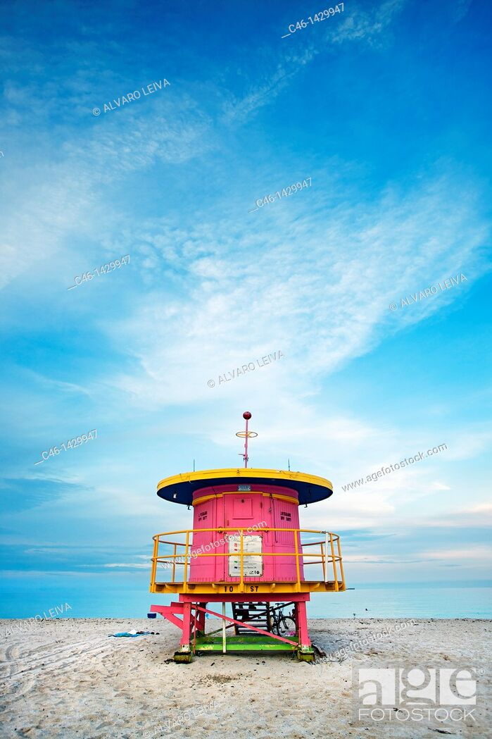 Stock Photo: Lifeguard stand in South Beach, Art deco district, Miami beach, Florida, USA.