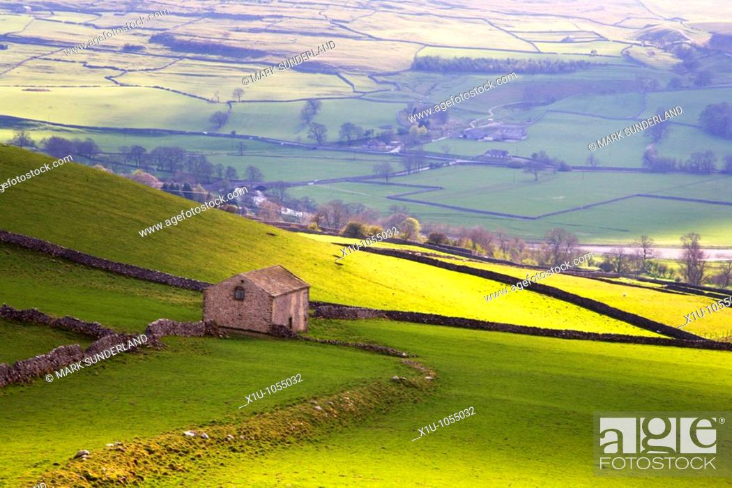 Stock Photo: Barn above Conistone in Wharfedale Yorkshire England.