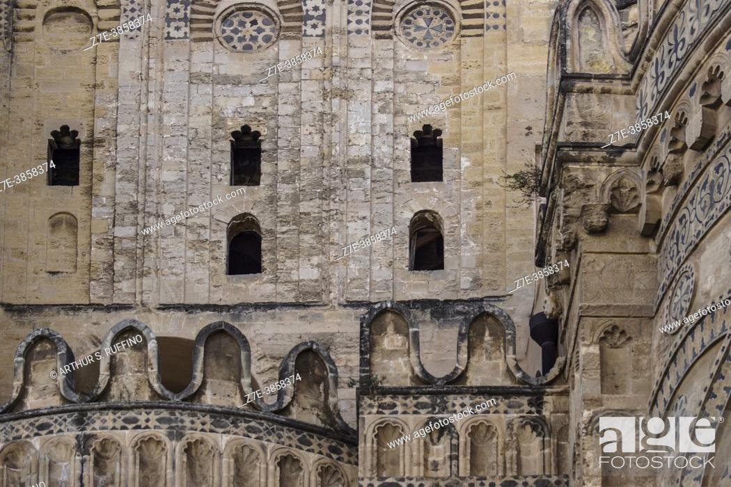 Stock Photo: Architectural detail above side apse on the east side of the Palermo Cathedral. Exterior view. Palermo, Sicily, Italy.