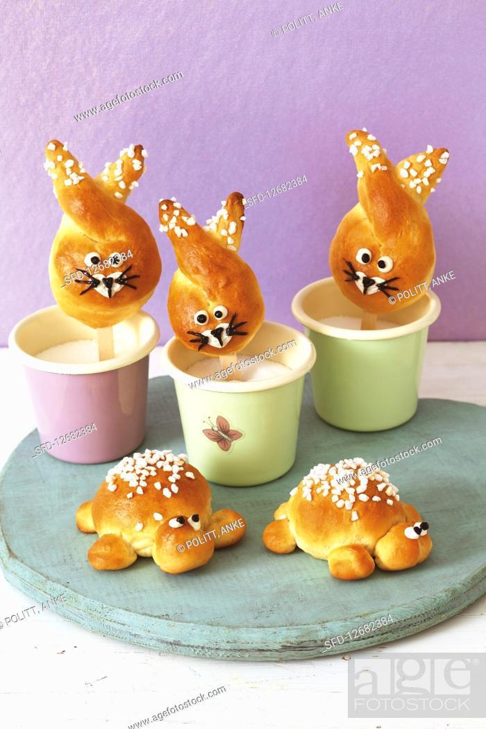Stock Photo: Bunny buns on sticks and tortoise rolls.