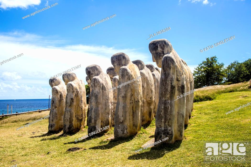 Stock Photo: Memorial of L'anse Cafard, in Le Diamant, Martinique. This memorial is a Monument built to commemorating a shipwrecked that had many slaves on the boat.