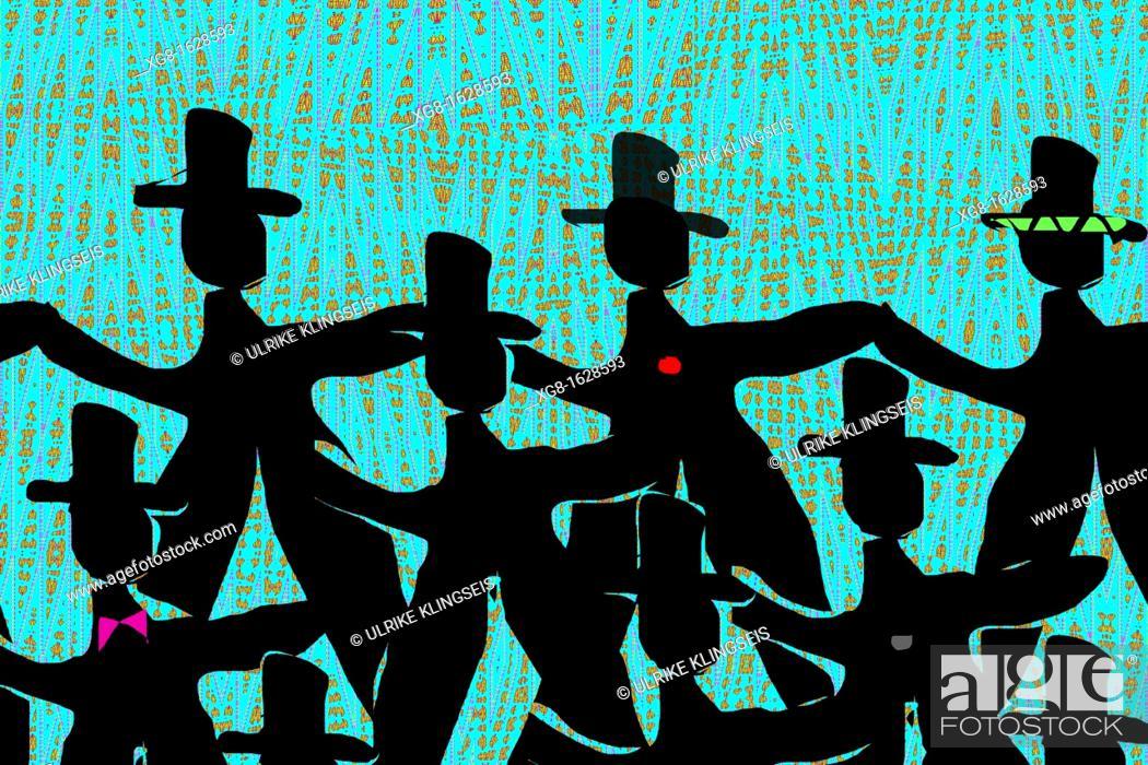 Stock Photo: dancing men in black.