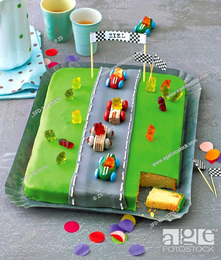 Sensational A Racetrack Birthday Cake Stock Photo Picture And Rights Managed Funny Birthday Cards Online Aboleapandamsfinfo