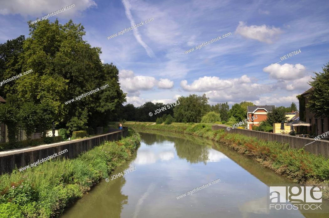 Stock Photo: View over the Dijle river near the Dutch town Mechelen.