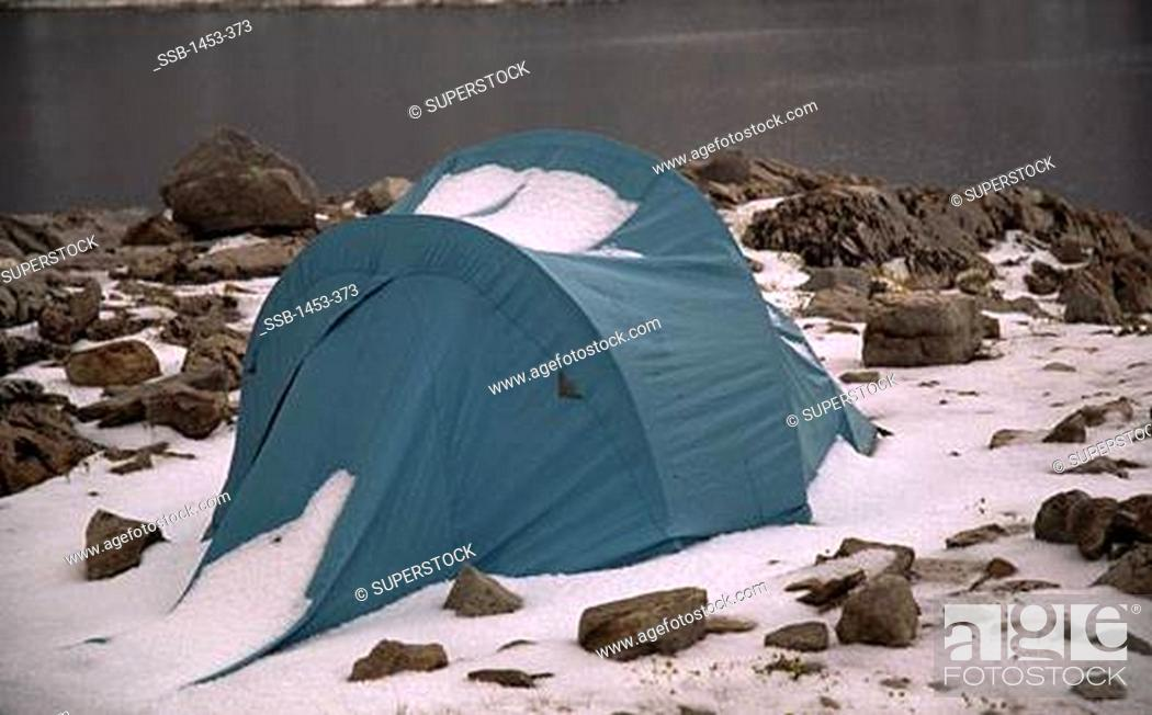 Stock Photo - C&ing tent in a snow covered field Kings Canyon National Park California USA & Camping tent in a snow covered field Kings Canyon National Park ...