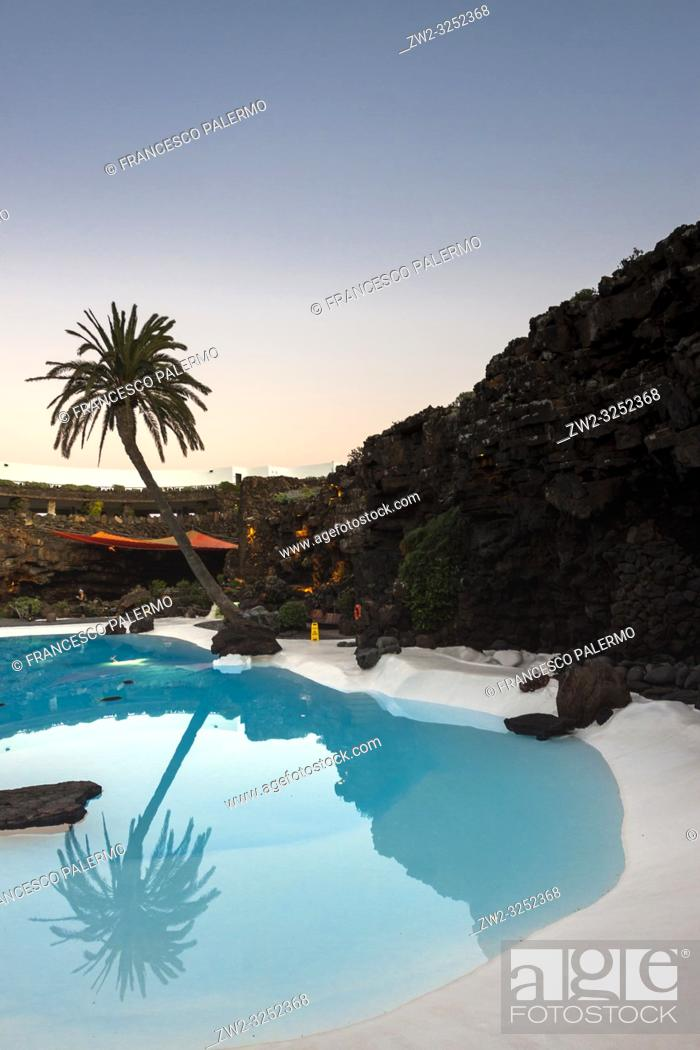 Stock Photo: Pool designed and built inside a volcanic cave. Jameos del Agua, Lanzarote. Spain.