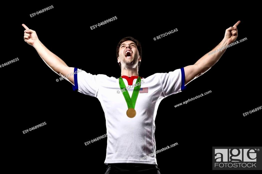 Imagen: American Athlete Winning a golden medal on a black Background.