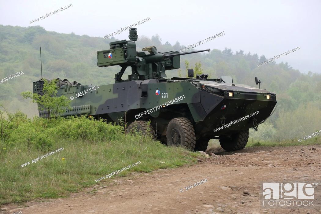 Stock Photo: Vehicle KBV-PZ Pandur II 8x8 CZ is seen during the military exercise in Hradiste, Czech Republic, May 11, 2016. (CTK Photo/Jan Kouba).