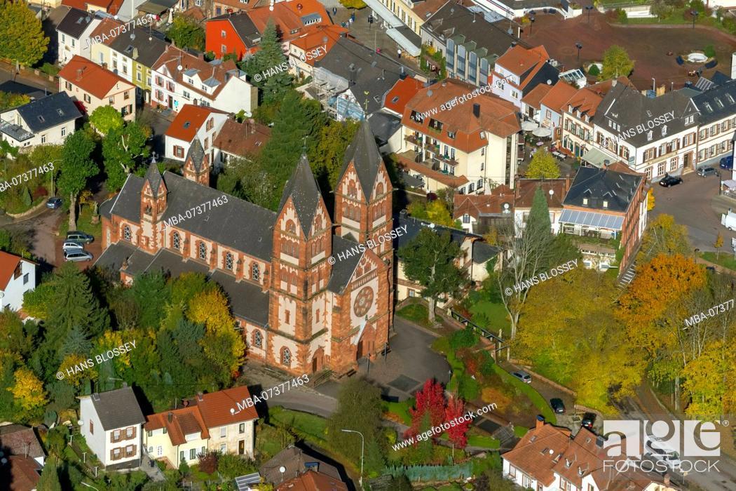 Stock Photo: Parish church Sankt Lutwinus, Mettlach, Saarland, Saarland, Germany, Europe.