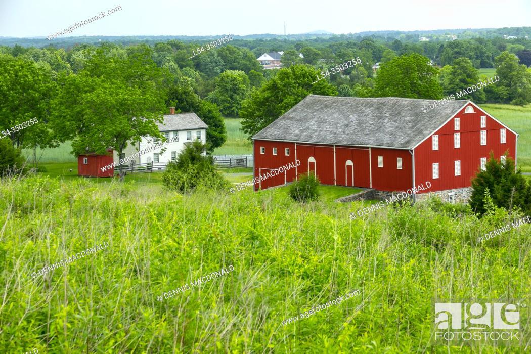 Stock Photo: Oak ridge farm and battle site Gettysburg National Civil War Battlefield Military Park Pennsylvania PA.