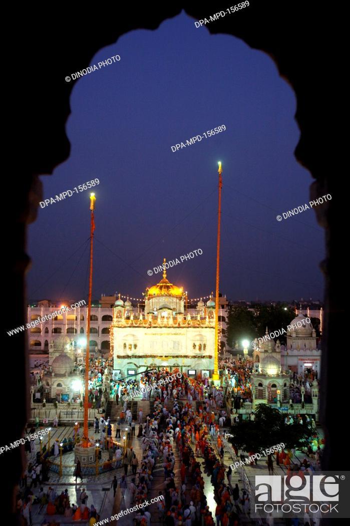 Stock Photo: Illuminated Sachkhand Saheb Gurudwara for 300th year of Consecration of perpetual Guru Granth Sahib on 30th October 2008 ; Nanded ; Maharashtra ; India.