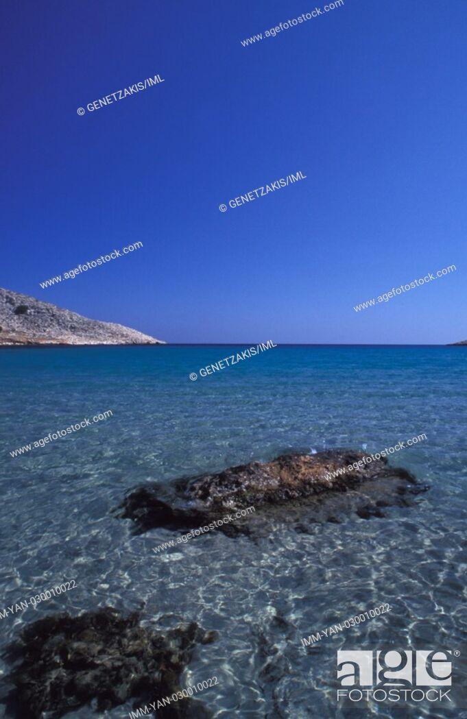 Stock Photo: Pondanos beach  Halki, Dodecanese, Greece.