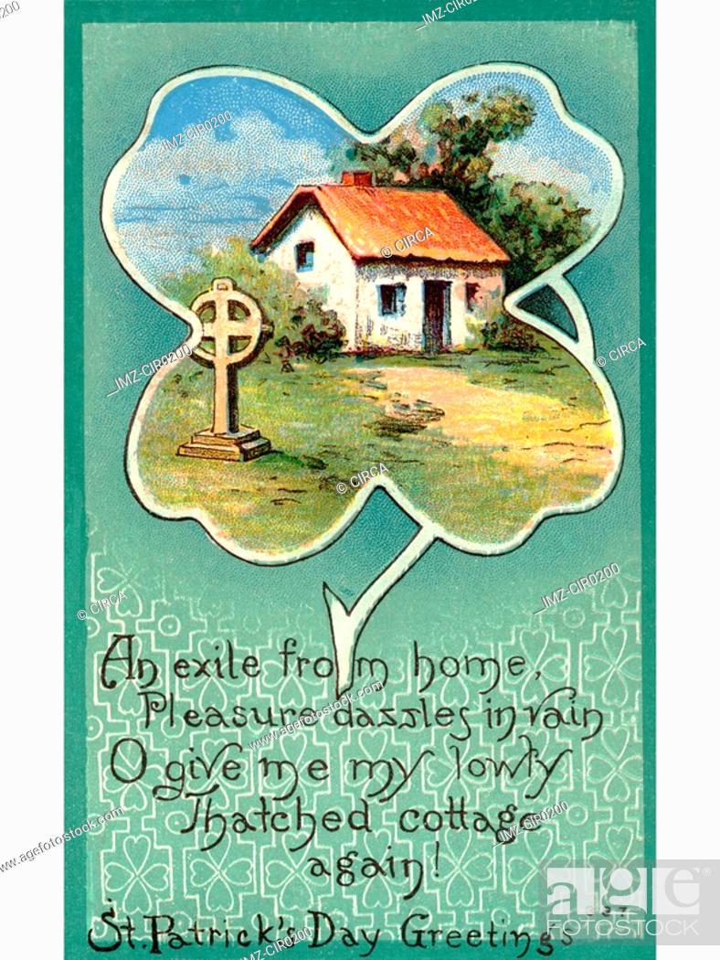 Stock Photo: A vintage St. Patricks Day Souvenir card.
