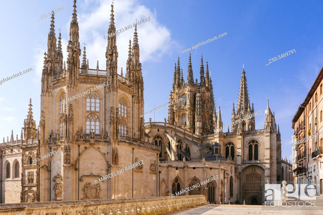 Stock Photo: The Cathedral of Saint Mary of Burgos. View from Fernán González street, first facade of the Condestable chapel and the Cimborrio.