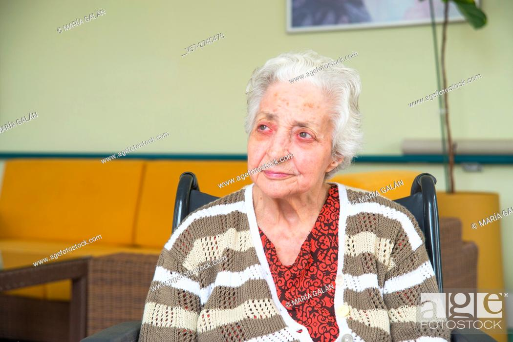 Stock Photo: Elderly woman in a nursing home.