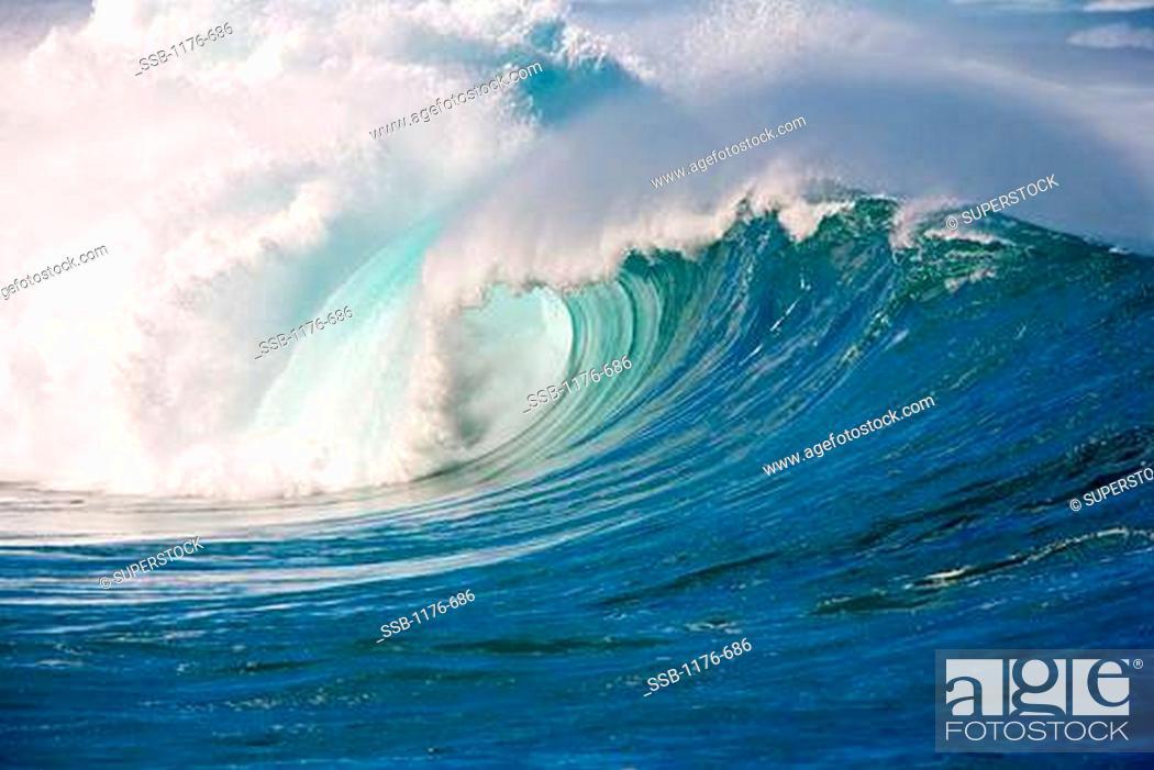 Waves in the ocean, Waimea Bay, Oahu, Hawaii, USA, Stock