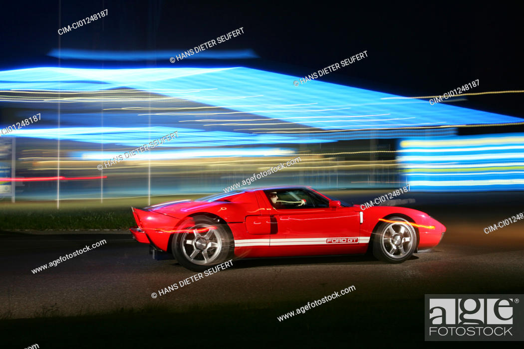 Stock Photo Ford Gt Model Year  White Red Driving Side View Landsapprox E Test Track Night Shot At Night Verwischt Panned Shot