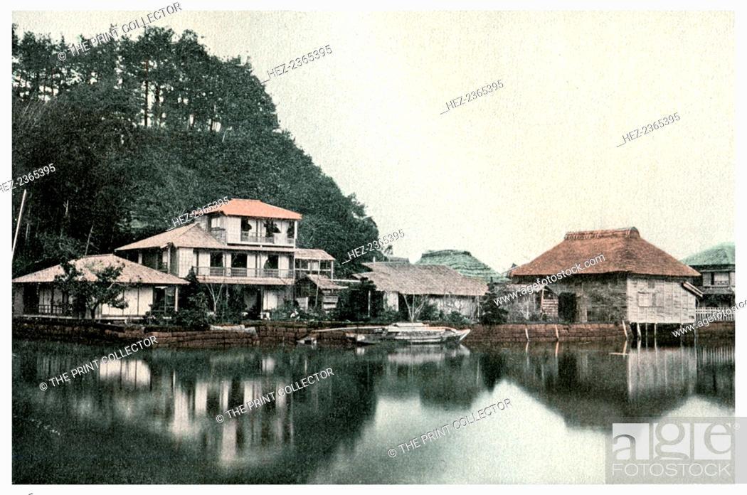 Stock Photo: Small summer hotel, Kanazawa, Japan, 1904. A print from Japan, its History, Arts and Literature, Volume V, by Captain F Brinkley, TC and EC Jack.