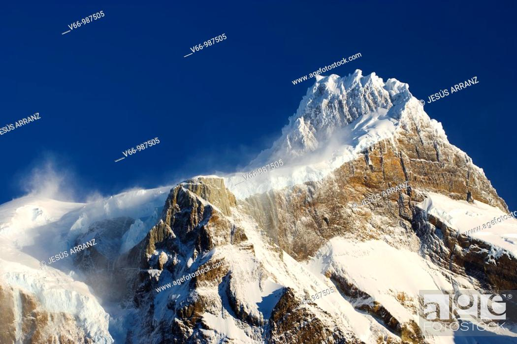 Stock Photo: Paine Grande mountain summit in the Chilean Patagonia.