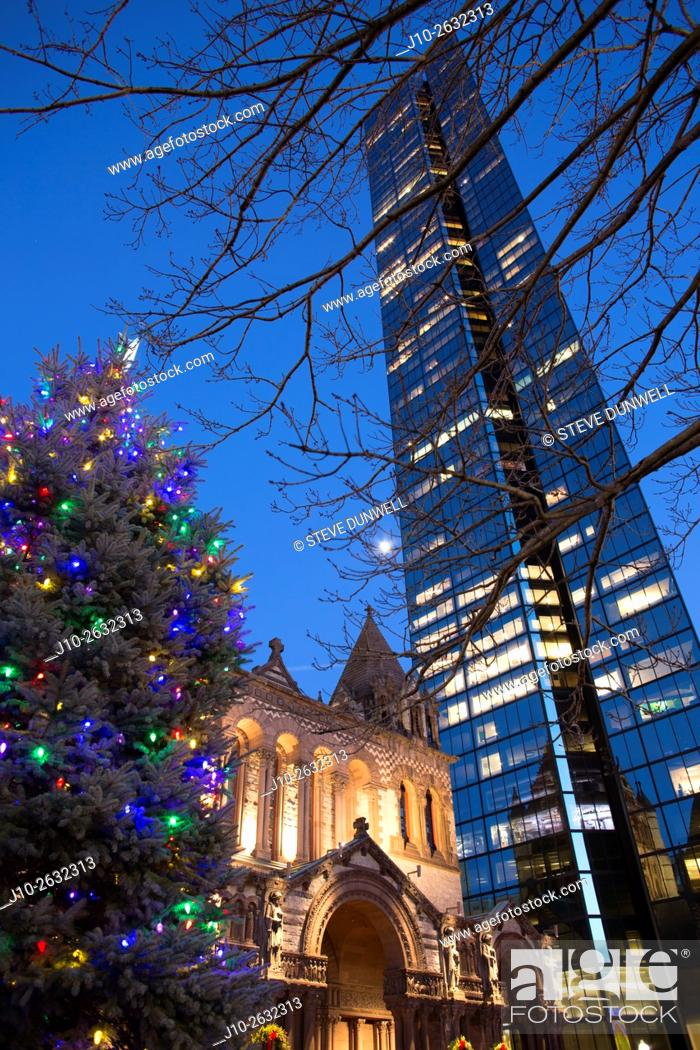 Stock Photo: Christmas Tree, Copley Square, Boston, MA Trinity Church with Hancock Tower, USA.