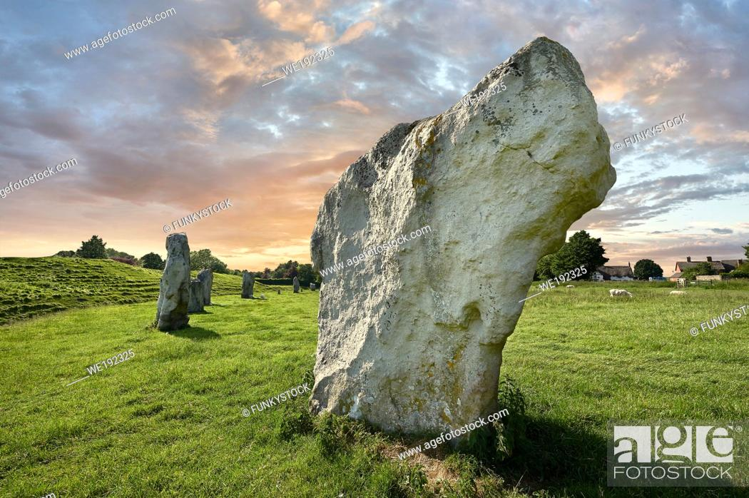 Stock Photo: Avebury Neolithic standing stone Circle the largest in England, Wiltshire, England, Europe.