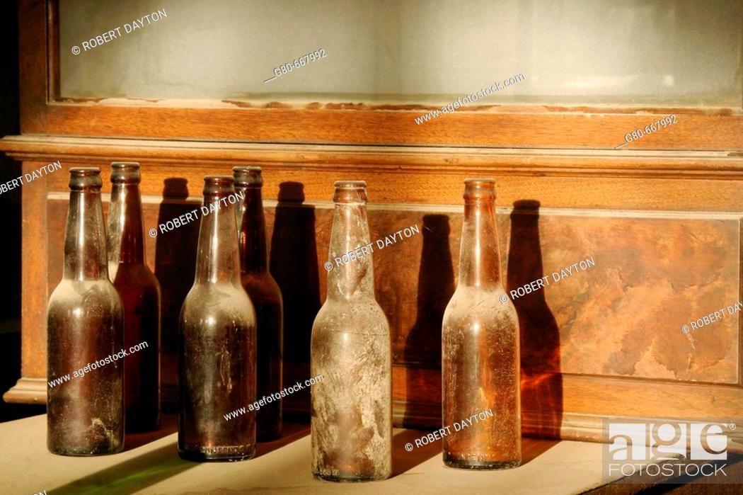 Stock Photo: Bottles in the Bodie bar, California, USA.