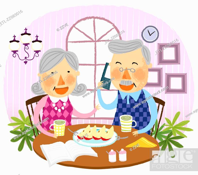 Stock Photo: Elderly couple drinking together cup of tea.