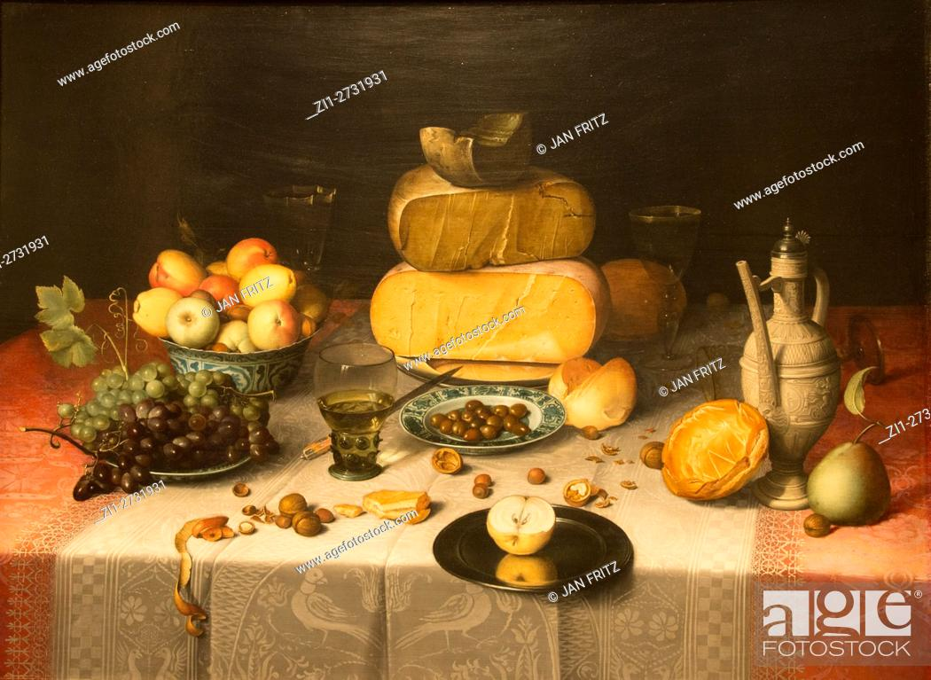Corn Van Dijck.Still Life With Cheese 1615 Floris Claesz Van Dijck Stock Photo