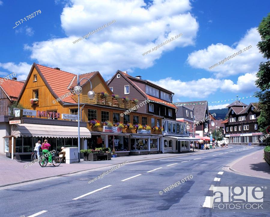 Stock Photo: Germany, Braunlage, Harz, Upper Harz, nature reserve Harz, Lower Saxony, town centre, Herzog Wilhelm Street, main road, residential buildings, shops.
